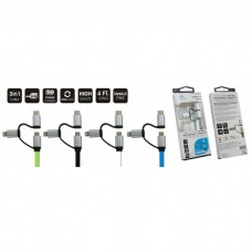 Acqua 3 in 1 Sync & Charge USB Cable (Type C/iPhone/Micro USB)