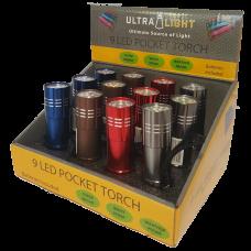 Ultralight 9 LED Pocket Torch
