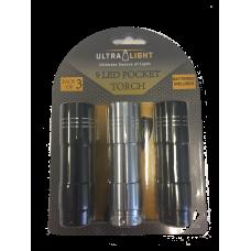 Ultralight Pack of 3 LED Pocket Torch